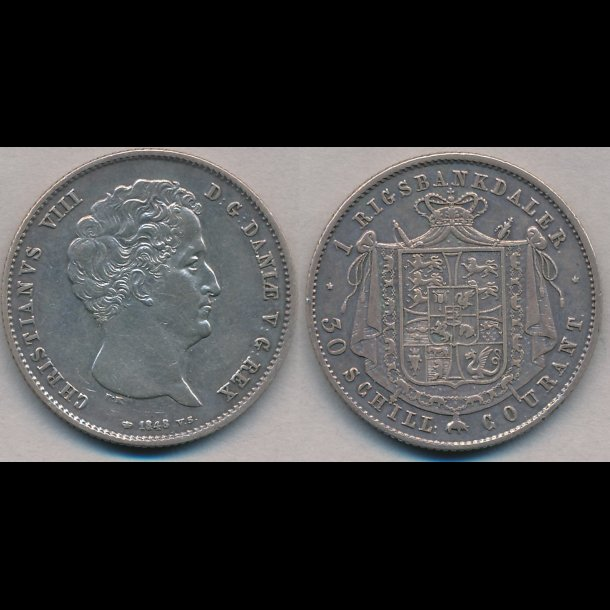1848, VS, Christian VIII, 1 rigsbankdaler, 1+, H4A,