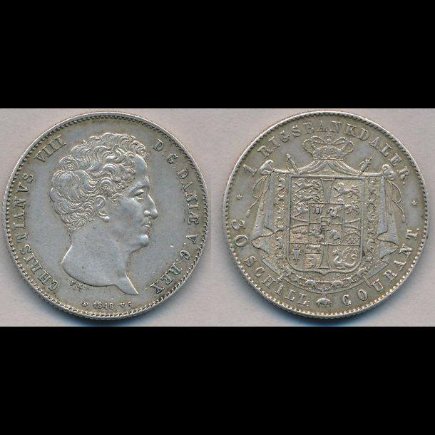 1848, VS, Christian VIII, 1 rigsbankdaler, 1++, H4A,