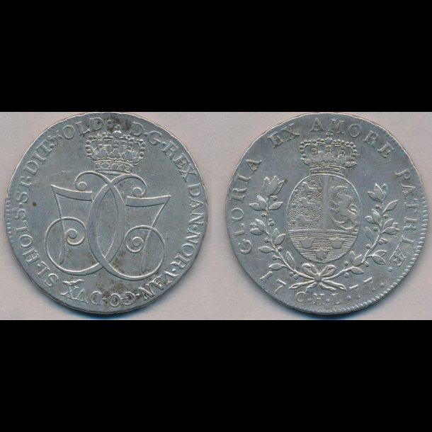 1777, Christian VII, speciedaler, 1+, H11D, S1