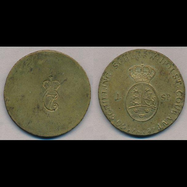 1787, Christian VII, 1 specie, messing vægtlod, 01