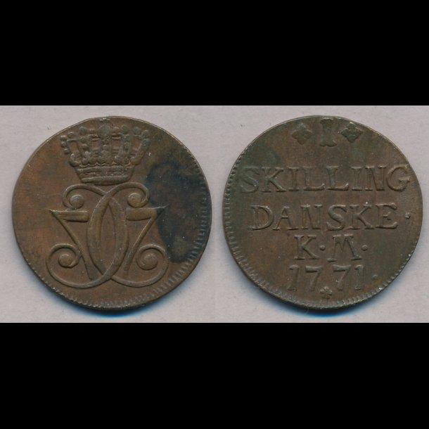 1771, Christian VII, 1 skilling, 1++, S2.1