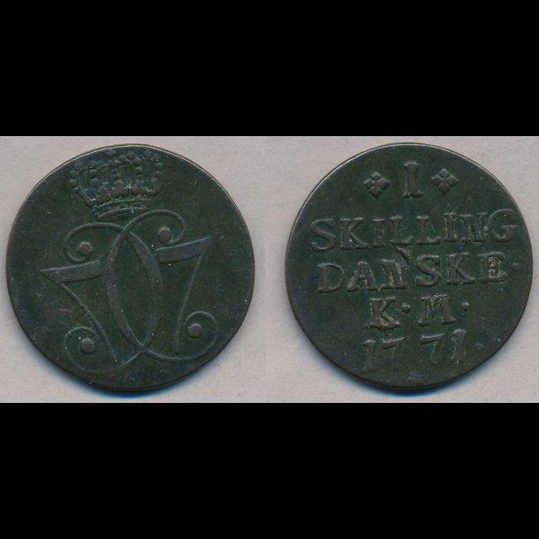 1771, Christian VII, 1 skilling, 1+, S2.1