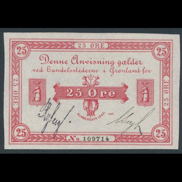 1905, Grønland, 25 øre, 0, Sieg 48, Pick 4