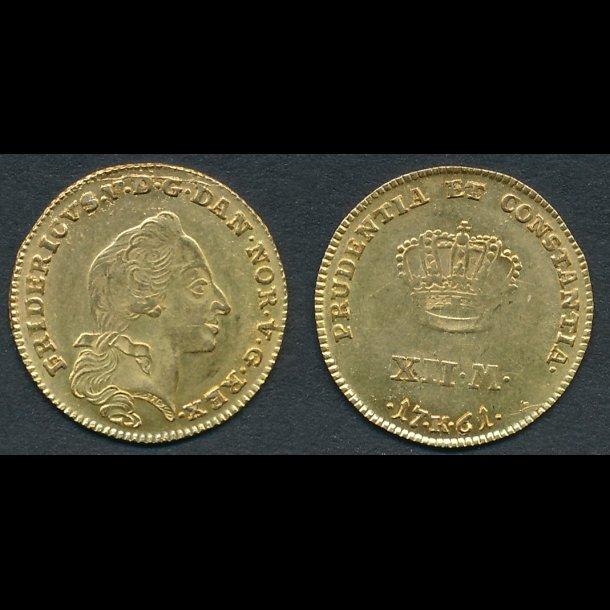 1761, Frederik V, 1 kurant dukat, 01 / 0, H22E, lbnr 29