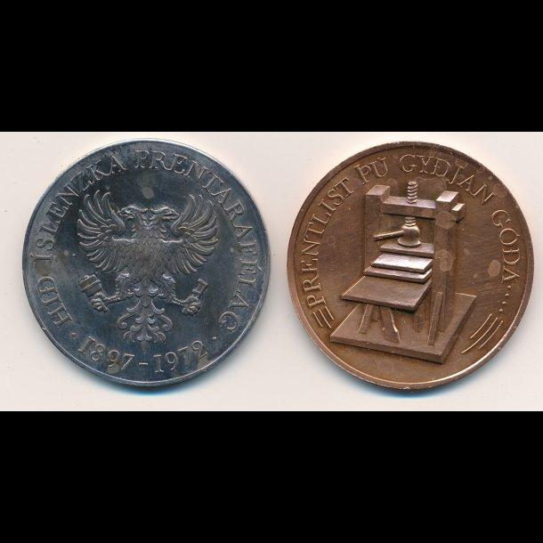 1897 - 1972, Island,  medaljesæt i sølv og bronze til bogtrykkerfaget?