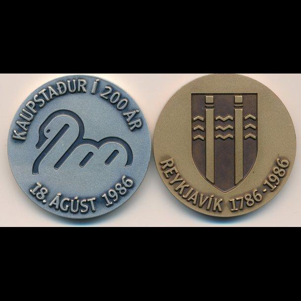 1786 - 1986, Island, medalje sæt i sølv og bronze, 200 ara afmæli Reykjavikurborgar,