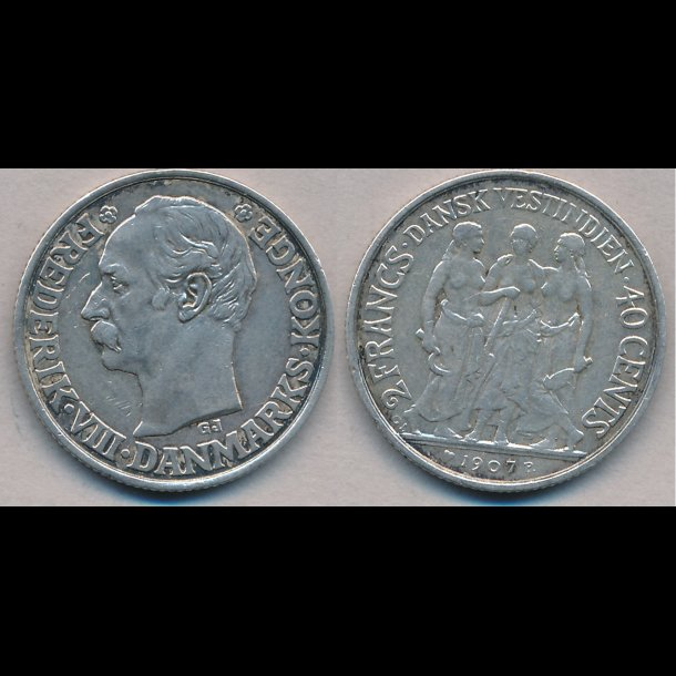 1907, Dansk Vestindien, Frederik VIII, 40 cents, 1+, lbnr 20