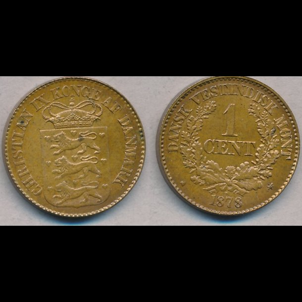 1878, Dansk Vestindien, 1 cent, 0