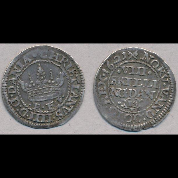 1619, Christian IV, 8 skilling, 1+, H114D
