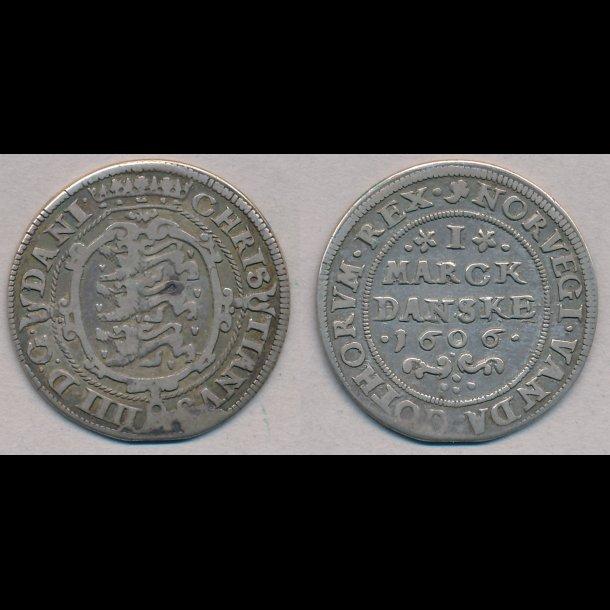 1606, Christian IV, 1 marck, 1+