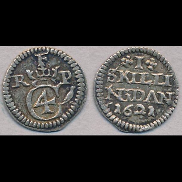 1621, Christian IV, I skilling, 01, H119B