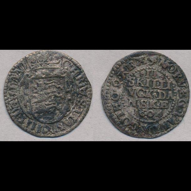 1604, Christian IV, 2 skilling, H79A, 1