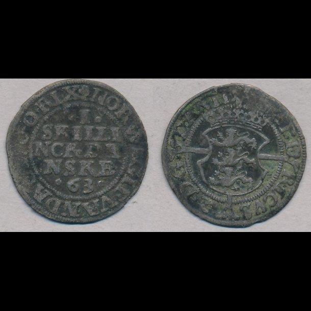 1563, Frederik II, I skilling, 1