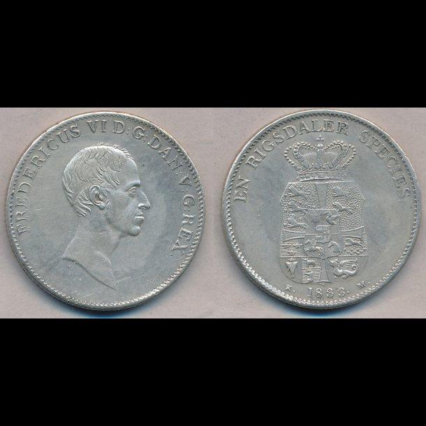 1833 Frederik VI, 1 rigsdaler species, KM, 1+