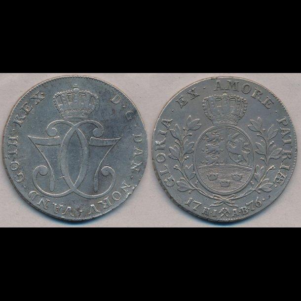 1776, Christian VII, Norge, 1 speciedaler, 1+