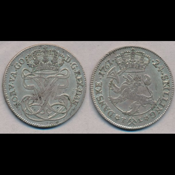 1761, Frederik V, Norge, 24 skilling, 01