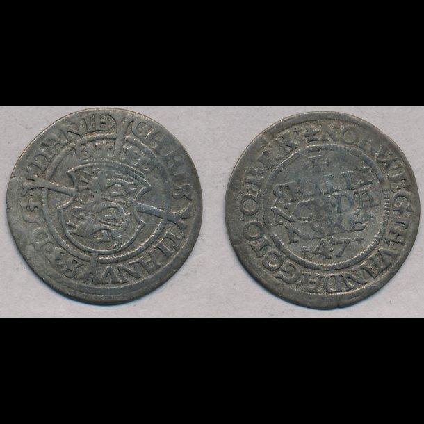 1547, Christian III, 1 skilling, København, 1, S32.2, H6B