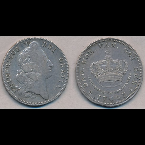 1747, Frederik V, 4 marck, København, 1+ /1, S9, H29A