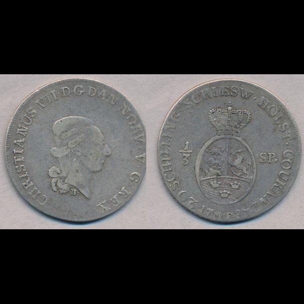 1787, Christian VII, 1/3 specie, 1+, S43.1, H41A