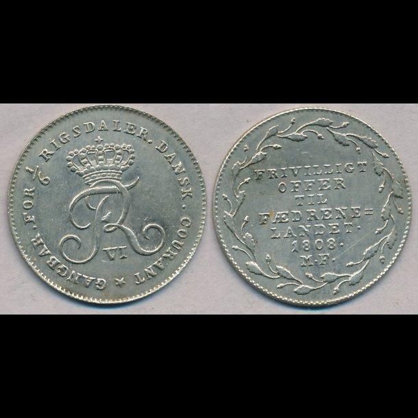 1808, Frederik VI, offermark, 01 / 0, S 7, H 6