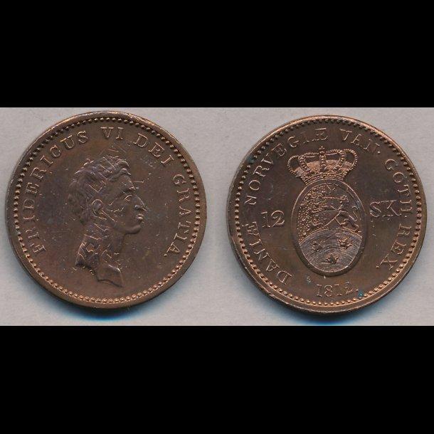 1812, Frederik VI, 12 skilling, 01, S 6, H 11