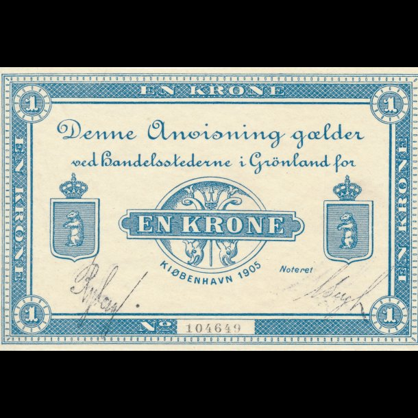 1905, Grønland, 1 krone, nr. 104649, 0, Ryberg / Bergh, Sieg 49b, Pick 5b