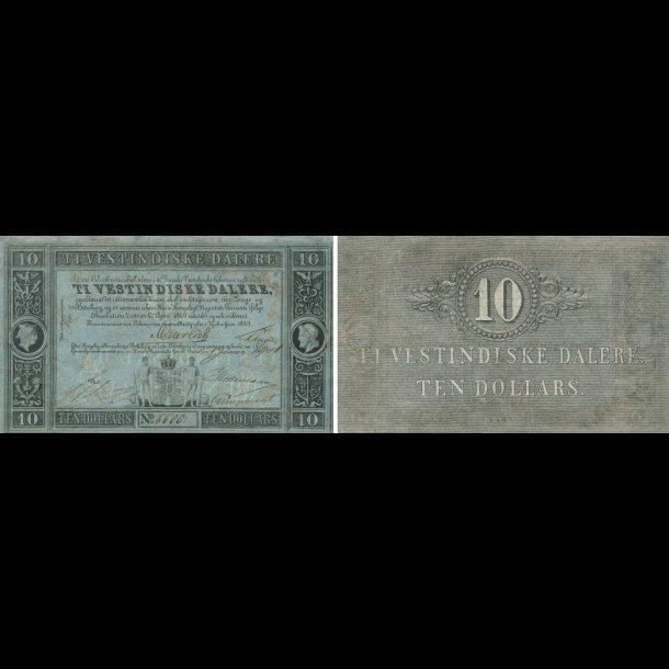 1849, Dansk Vestindien, Frederik VII, 10 daler, pengesedel, no. 6600, 01,  Sieg 17, Pick 4