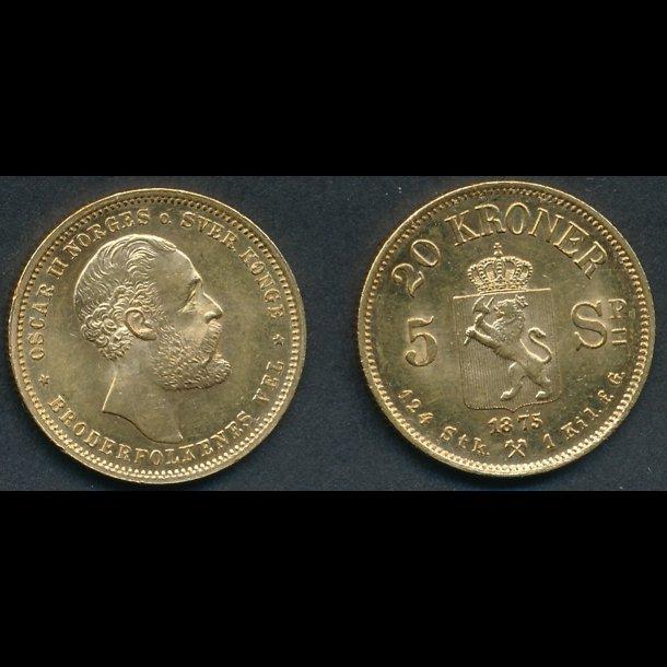 1875, Norge,  Oskar II, 20 kroner / 5 specie, 0