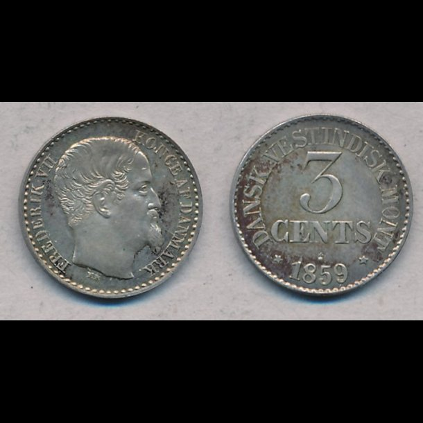 1859, Dansk Vestindien, Frederik VII, 3 cents, M/0, H22, S5, Sieg 40