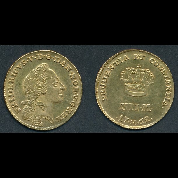 1762, Frederik V, kurantdukat, 0, H 22E, S 1 Sieg 21.5