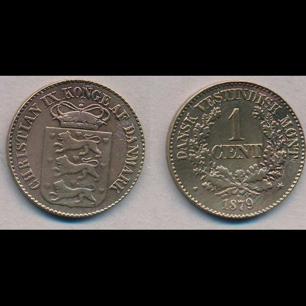 1879, Dansk Vestindien, Christian IX, 1 cent, 1+