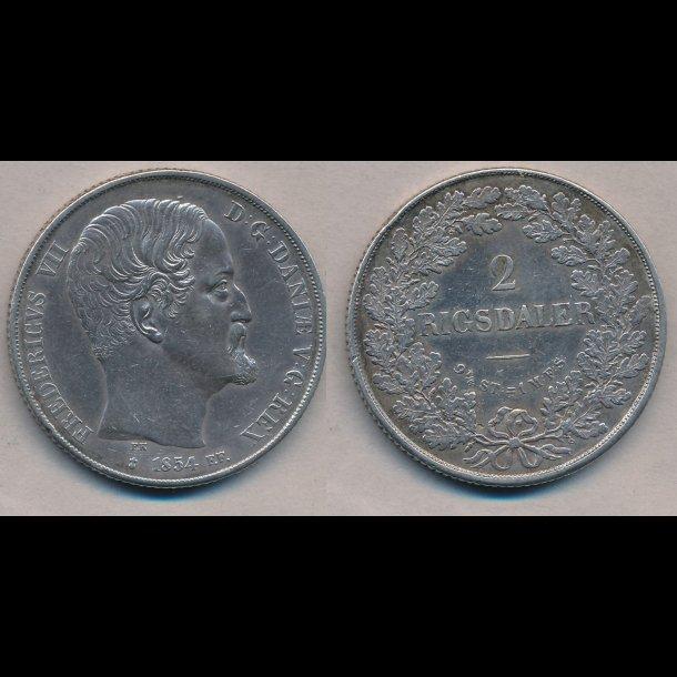 1854, Frederik VII, 2 Rigsdaler, FF, 1++, S 14.2, H 6B
