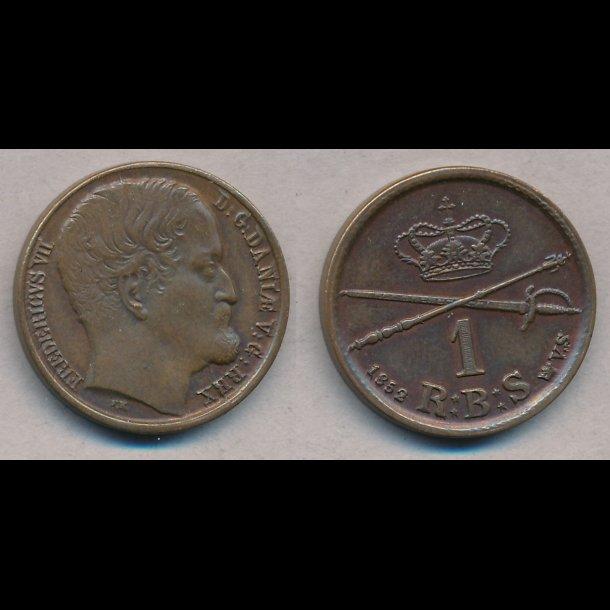 1852, Frederik VII, 1 Rigsbank skilling, VS, 1+, S2, H12A