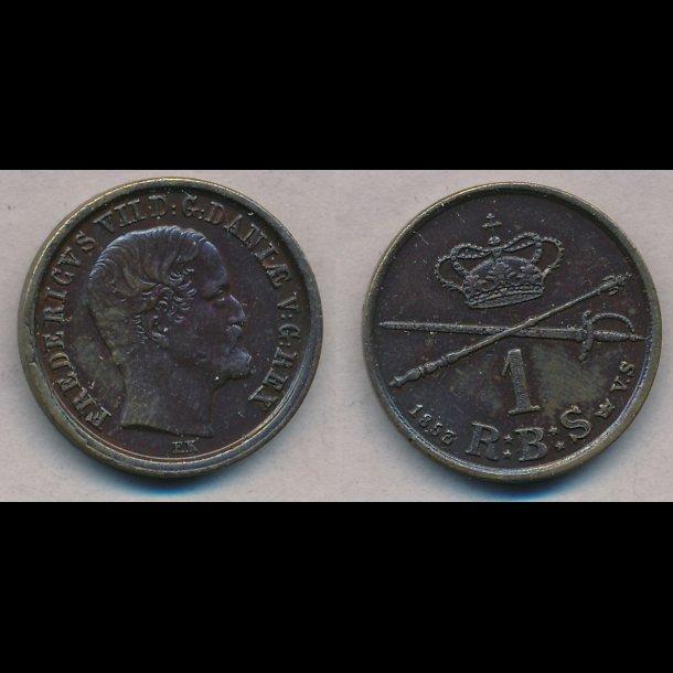 1853, Frederik VII, 1 Rigsbank skilling, VS, 1+, S4, H12C