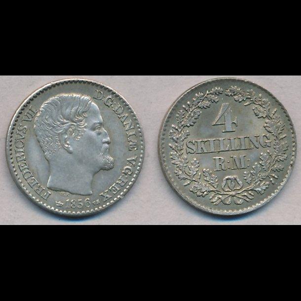 1856, Frederik VII, 4 Skilling, VS,  1++, S 10.2, H11B