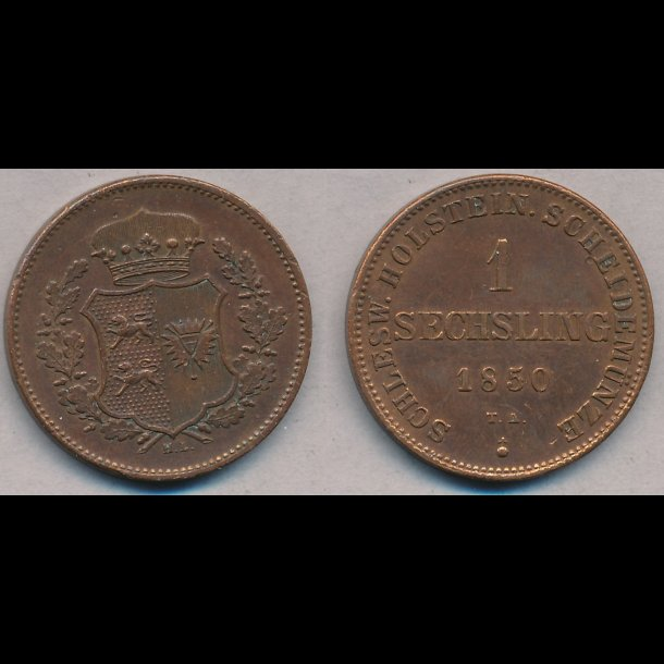 1850, Frederik VII / Oprørs regeringen, 1 Sechsling, 1+, S22, H19