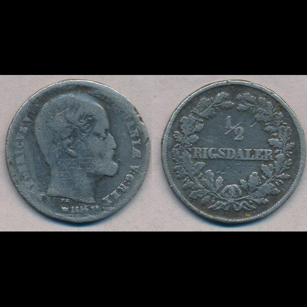 1855, Frederik VII, ½ Rigsdaler, VS,