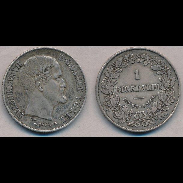 1854, Frederik VII, 1 Rigsdaler, VS, 1+, S13.1, H8A