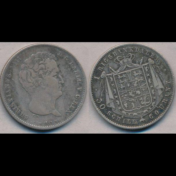 1847, VS, Christian VIII, 1 rigsdaler, 1+, S12.1, H4A,