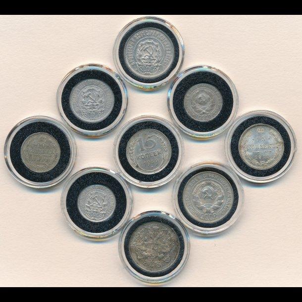 1867-1931, Rusland, ni sølvmønter, 10, 15 og 20 kopek