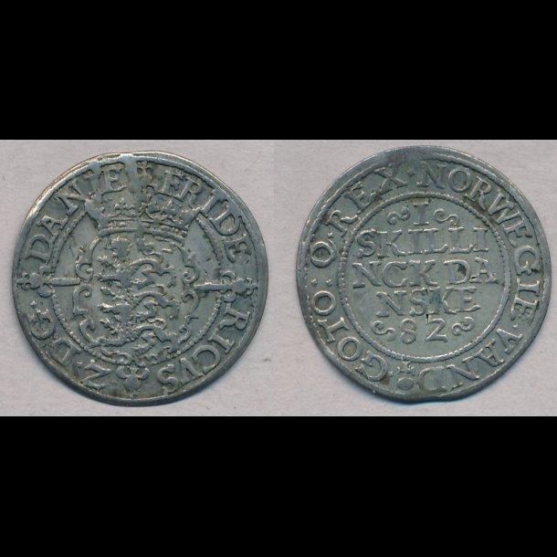 1582, Frederik II, 2 skilling, 1+, H28