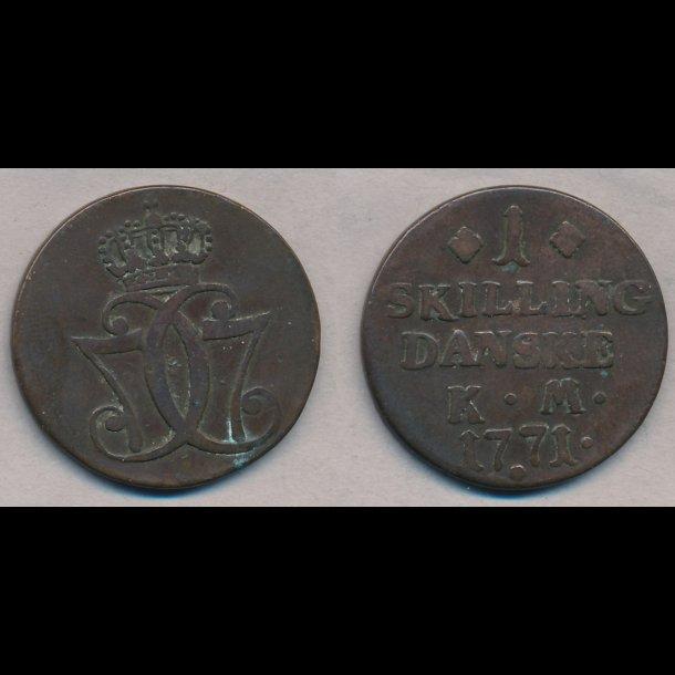 1771, Christian VII, 1 skilling,