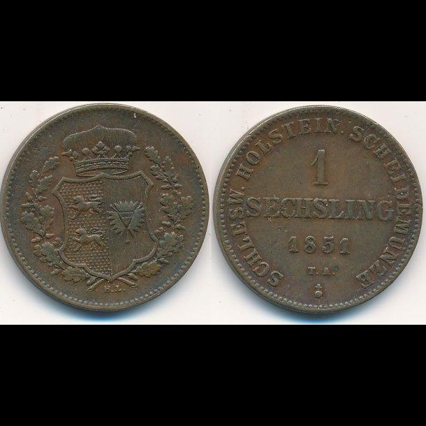 1851, Frederik VII, 1 Sechsling, 1+