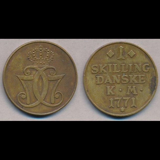 1771, Christian VII, 1 skilling, 1+