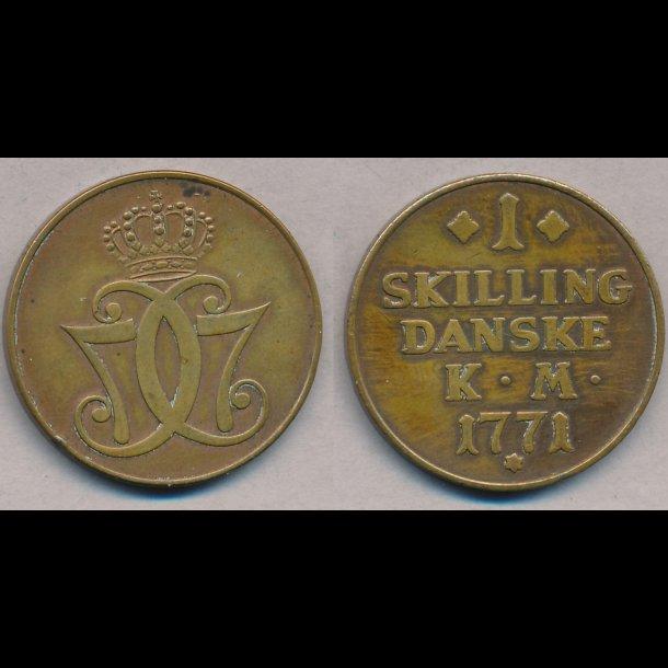 1771, Christian VII, 1 skilling, 1+ / 01