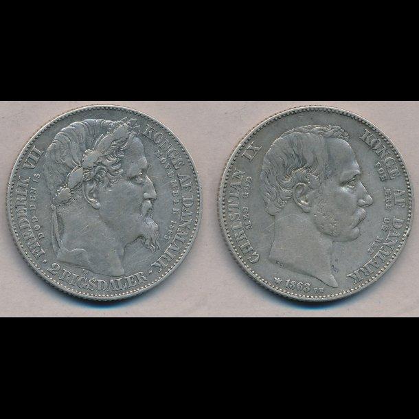 1863, Christian IX, 2 rigsdaler, tronskiftespecie, 1 / 1+