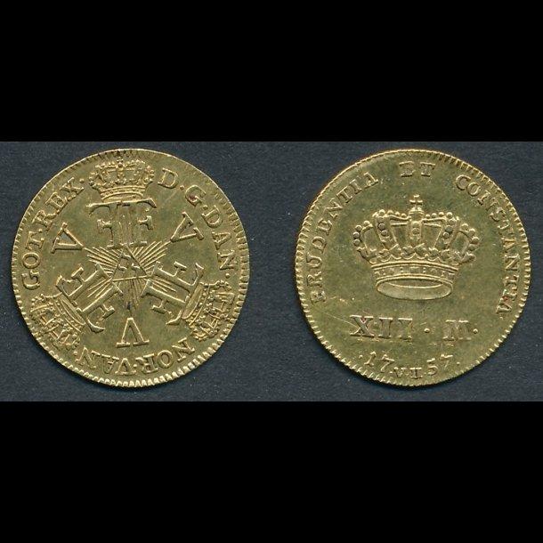 1757, VH, Frederik V, 12 mark, straledukat, H24A