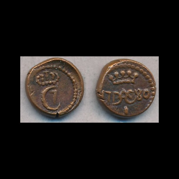 1780, Christian VII, Trankebar, 1 kas, kobber, 0 / 01, S76