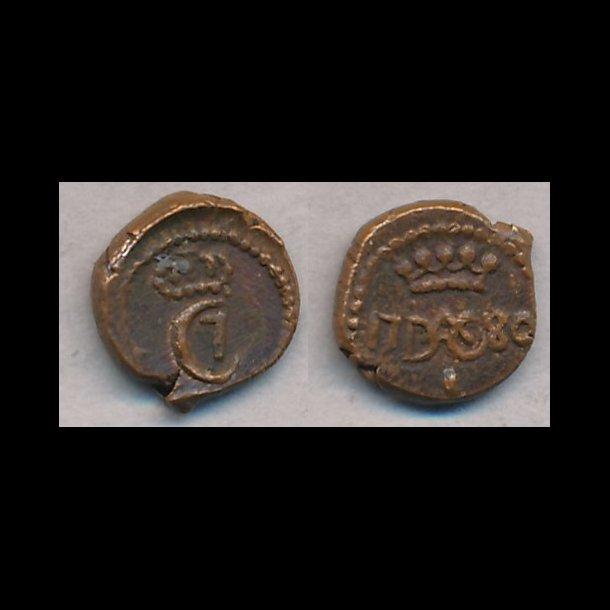 1780, Christian VII,  Trankebar, 1 kas, kobber, 01