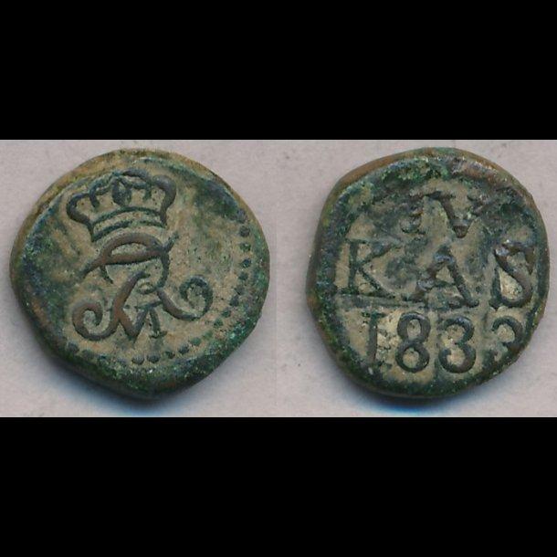 1833, Frederik VI, Trankebar, 4 kas, kobber, 1, S87